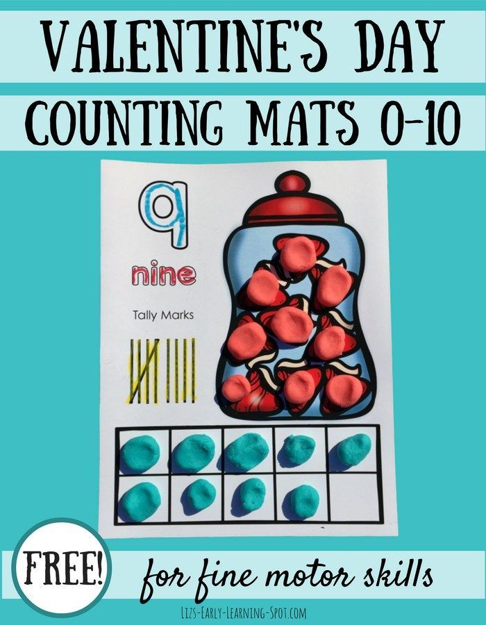 Valentine\'s Day Play Dough Counting Mats