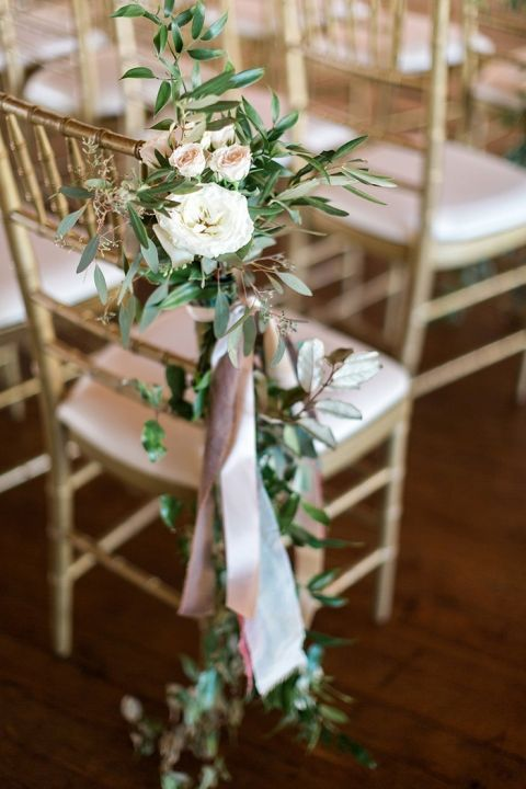 Earthy and Organic Wedding Style with Modern Greenery is part of Wedding chair decorations - Organic wedding style for a Southern couple at a Tuscan inspired venue in Atlanta, with modern greenery, custom floral illustrations, and an earthy neutral palette with a romantic lace wedding dress!