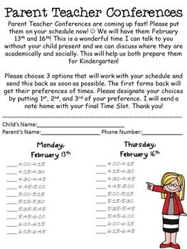 Editable Parent Teacher Conferences Sign Up Sheet  Documents
