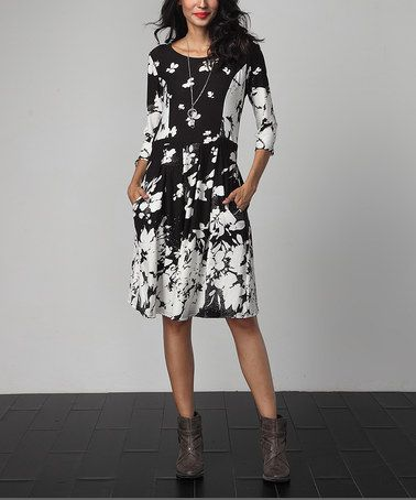 Another great find on  zulily! Black Floral Fit   Flare Pocket Dress   zulilyfinds 1fa8d581f