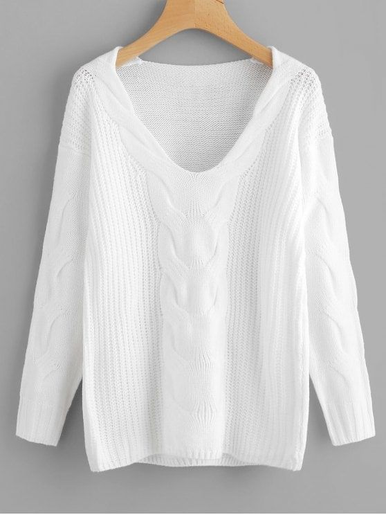 c423327aa Up to 70% OFF! Pullover V Neck Cable Knit Sweater. Zaful