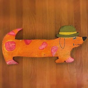 RARE DAN SHUPE Vintage 1960s Folk Art Dog
