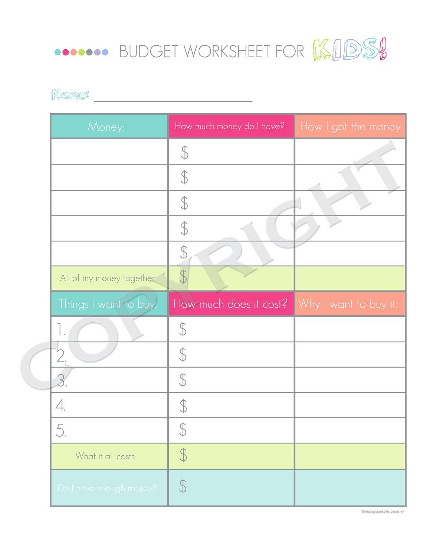 Kids Budget Worksheet - Printable PDF - Custom Organizer ...