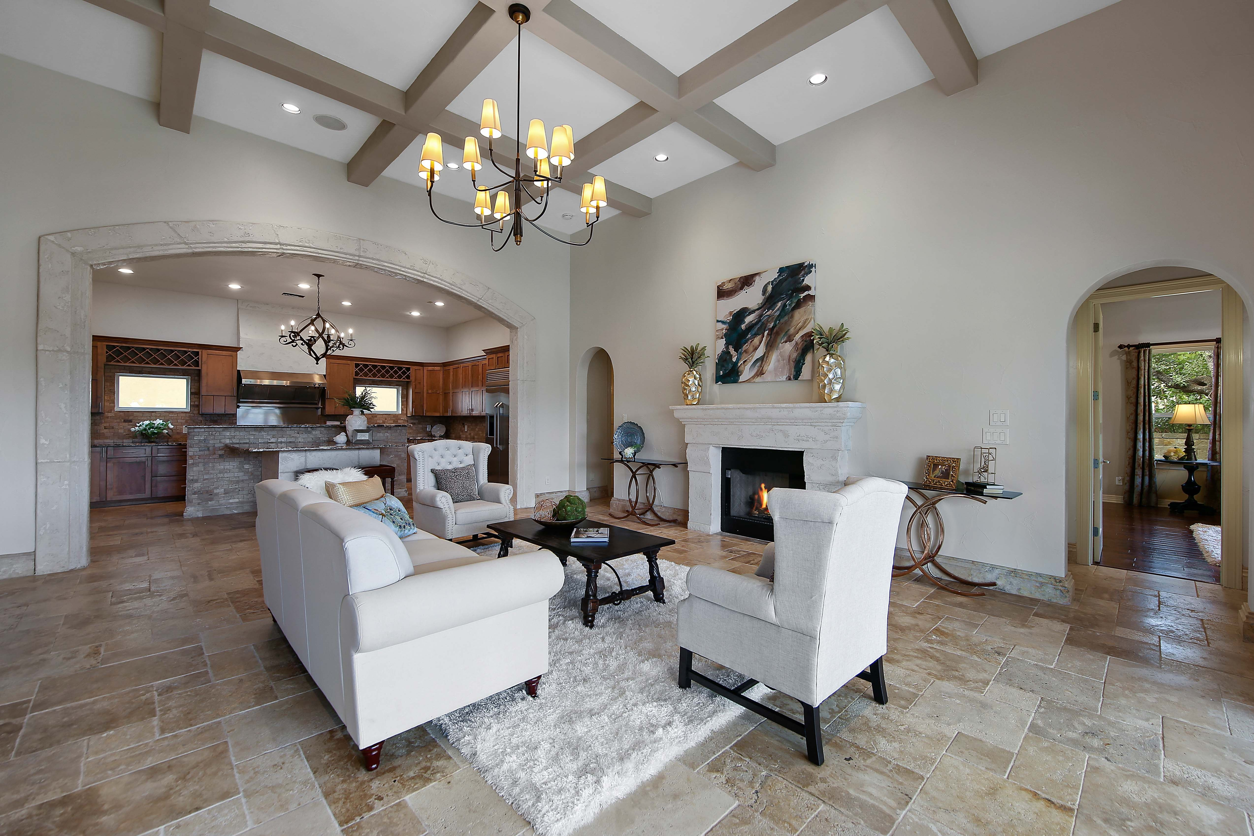 Open Floor Plan Living Room Open To The Kitchen Transitional Luxury Home Luxury House Plans Open Concept Living Room Small Hotel Room #open #floor #plan #living #room #ideas
