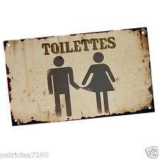 plaque de porte originale toilettes en metal wc homme femme vintage class deco design. Black Bedroom Furniture Sets. Home Design Ideas