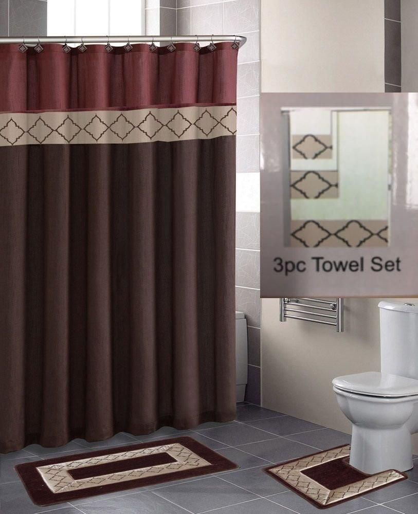 18 PC Design Pattern Bathroom SetShower Curtain With Hooks Bath Mats Towels Only 10 In Stock Order Today Product Description Choose Any Of This