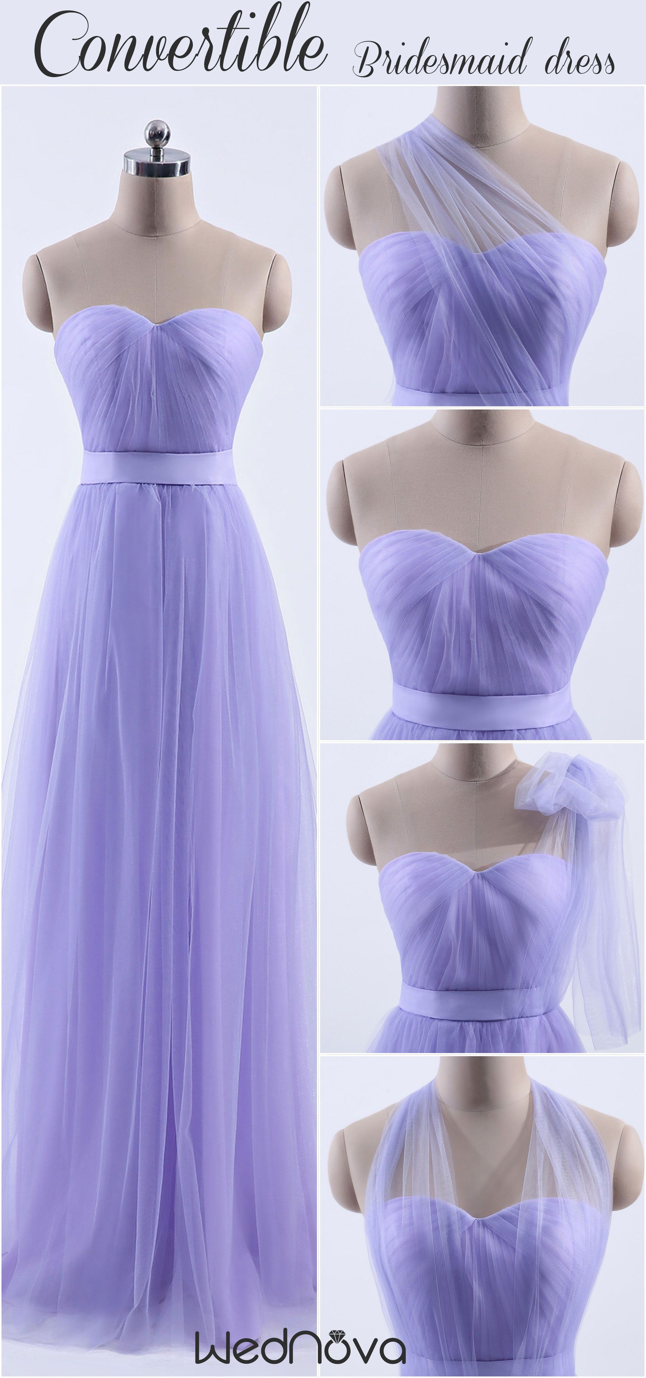 Tulle sweetheart convertible multiwear bridesmaid dress wedding