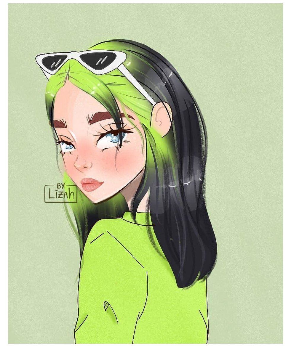 "Billie Eilish Drawings on Instagram: ""So cute 🥺💜💚 Artist ..."
