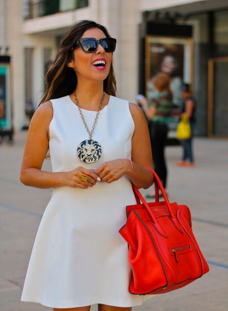 830547507a New York Fashion Week Spring 2014 wearing a white dress and orange Celine  bag  nyfw  mbfw  fashion