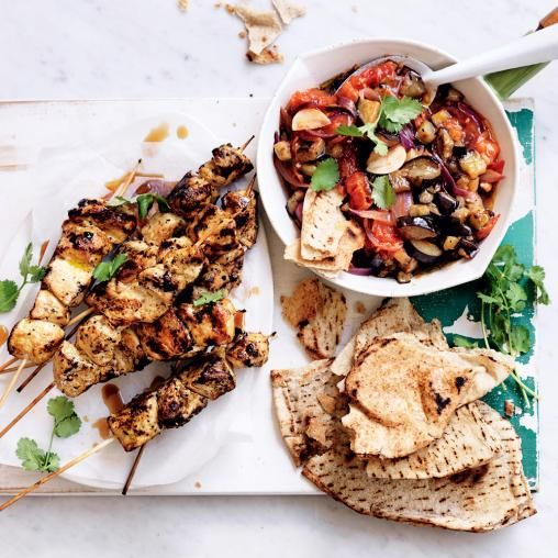 Moroccan chicken skewers with warm eggplant salad australian healthy recipes moroccan chicken skewers with warm eggplant salad australian healthy food guide forumfinder