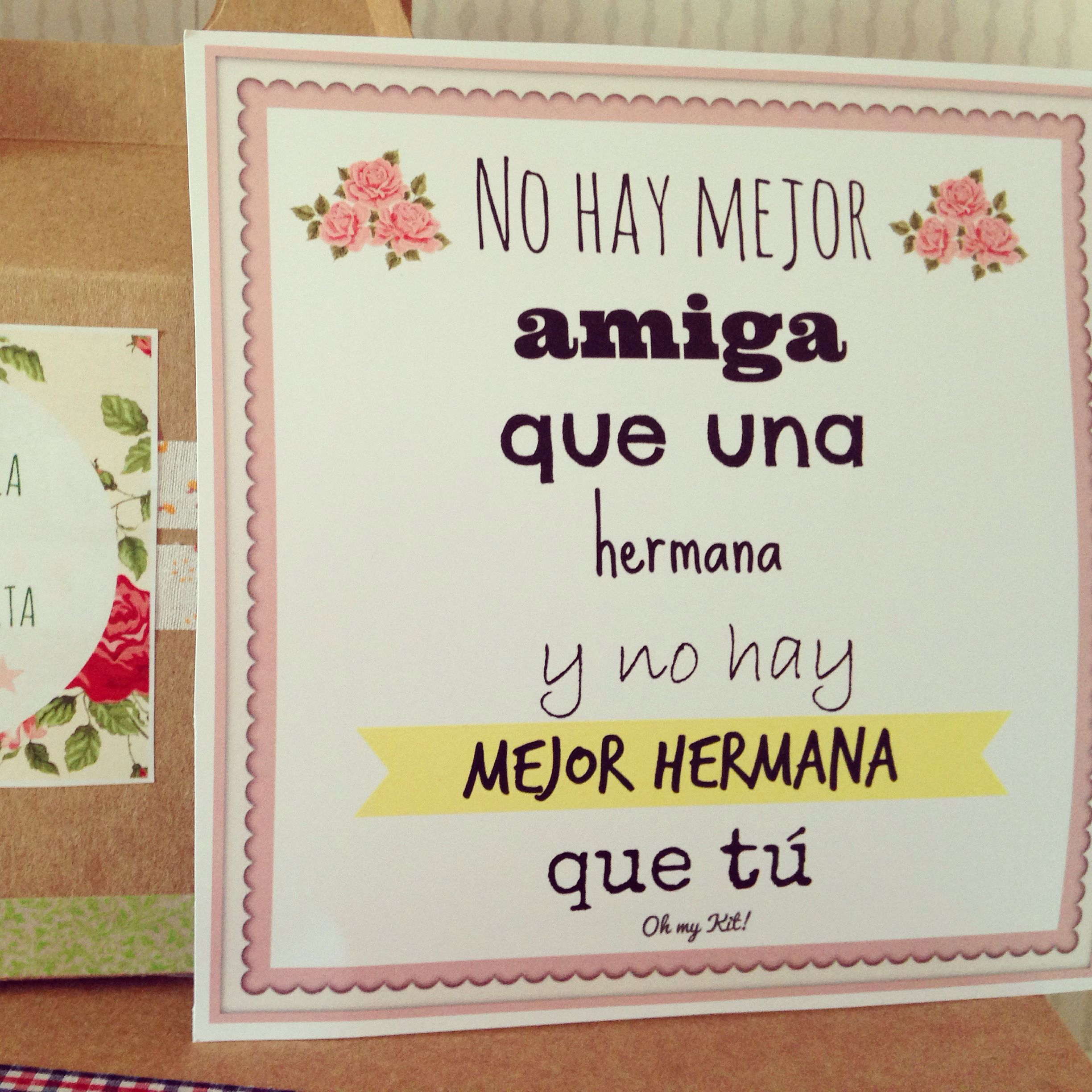 Regalos Originales Hermana Mayor.Kit Con Lamina Para Hermanas Regalos Para Hermanas