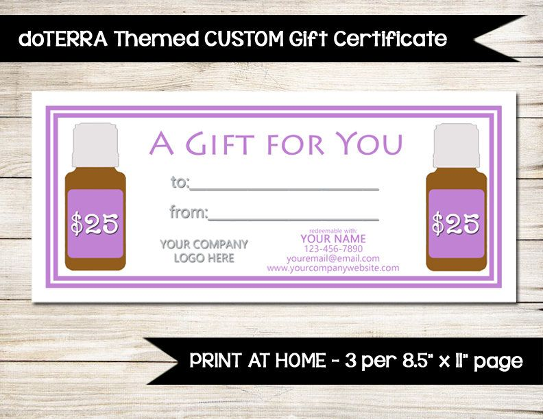 Essential Oils Custom Gift Certificate Direct Sales Vendor
