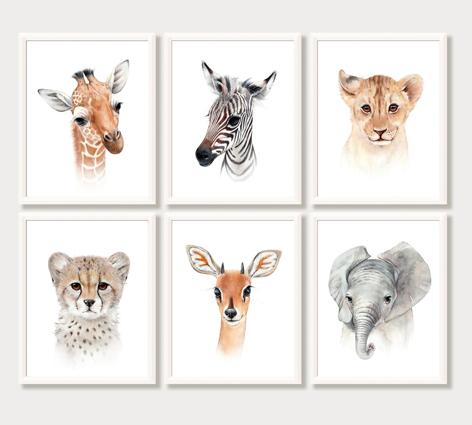 Safari Nursery Decor Wall Art Animal