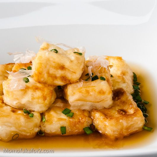 Agedashi Tofu Recipe By Dusted With Flour Fried Until Golden Lightly Dressed A Mirin Soy Sauce Bonito Flakes And Green Onions