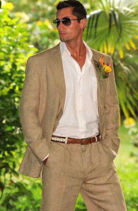 SKU#TSM02 Men's 100% Linen Suit in Tan $249 | MensITALY | Les's ...