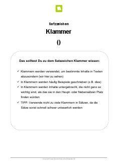 Arbeitsblatt: Satzzeichen Klammer
