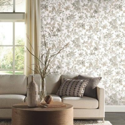 RoomMates 28.2' Neutral Watercolor Floral P&S Wallpaper