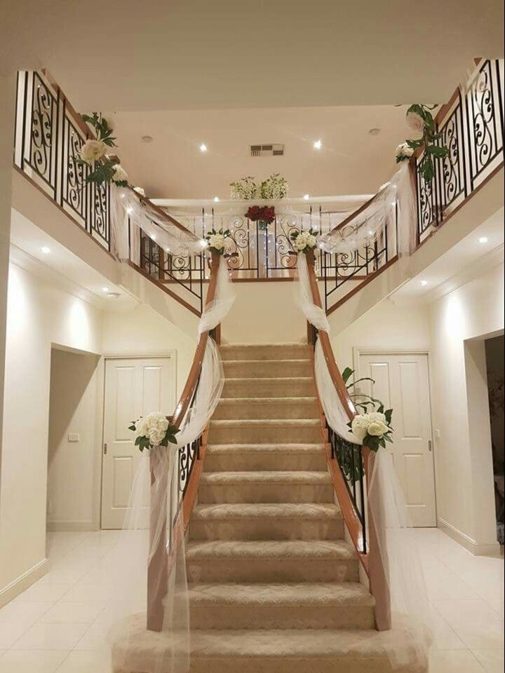 Wedding preparation staircase decor stairs decor for Wedding interior decoration images