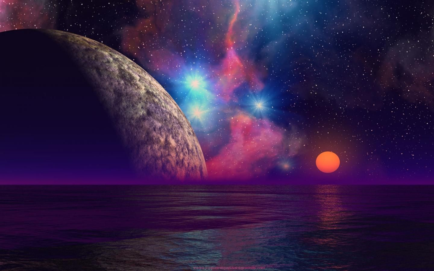 Space Ocean Sunset Planets Scifi Alien