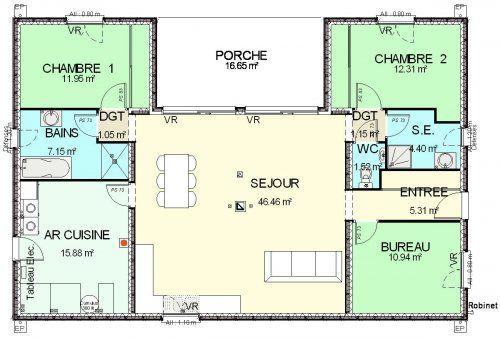 Afficher l\u0027image d\u0027origine Plans maison Pinterest - plan de maison de 100m2 plein pied