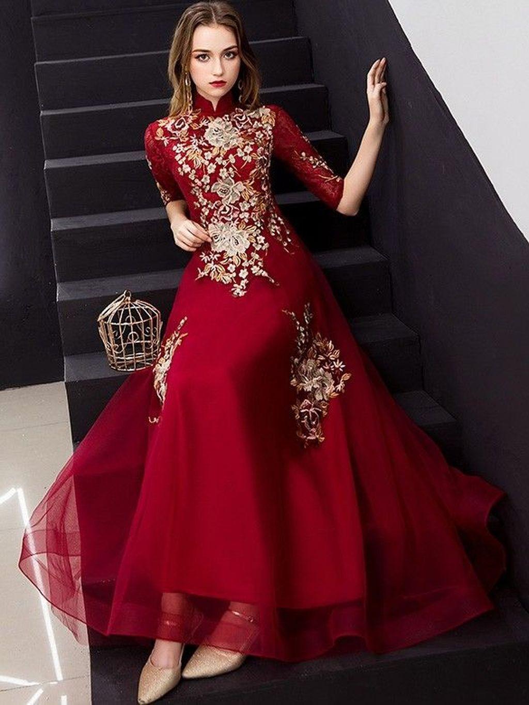 Stylish Cheongsam Prom Dress Outfit Ideas07 Jpg 1024 1365 Red Embroidered Dress Chinese Prom Dress Prom Dresses [ 1365 x 1024 Pixel ]