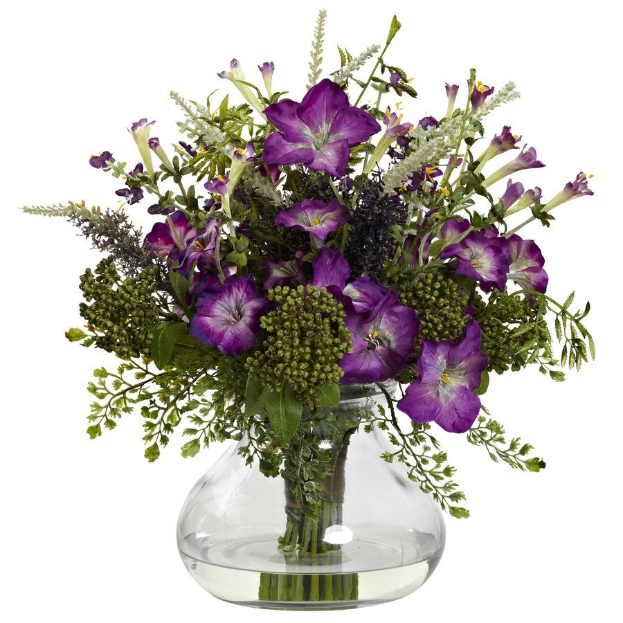 Nearly Natural 14 5 In Purple Green Artificial Silk Arrangement Flowers Lowes Com Artificial Flowers Flower Arrangements Fake Flower Arrangements
