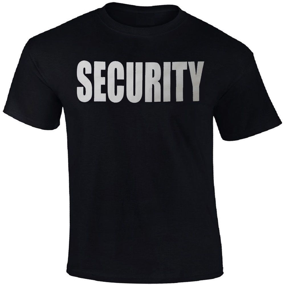 Security Uniform T-Shirt Black Two Sided Print Unisex Tee Guard Officer  Agent  ArmyUniverse 801ed6ffd0e