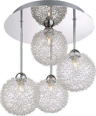 Stylish 7 rod chrome ceiling light with unique wire mesh shades semi flush
