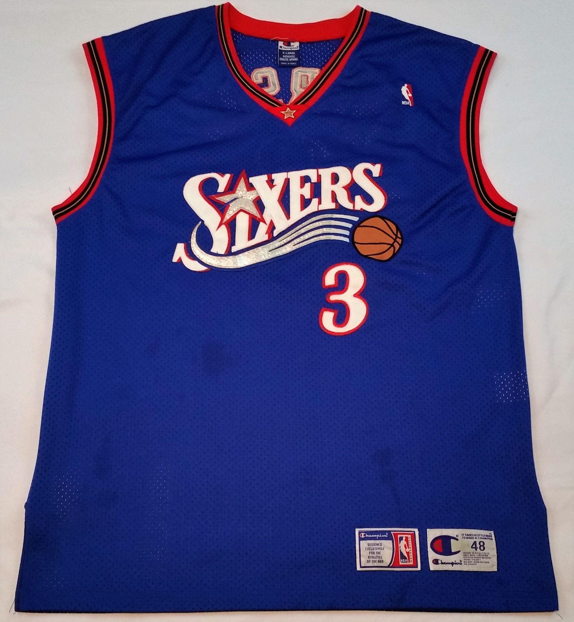 Vintage 90s RARE NBA Philadelphia 76ers Sixers Star Player Full Printed Nets Jersey Shirt Rc5jTc