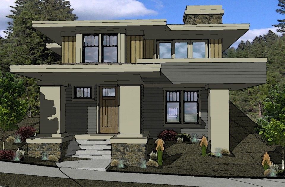 Muddy river design prairie style house plan northwest for Prairie house designs