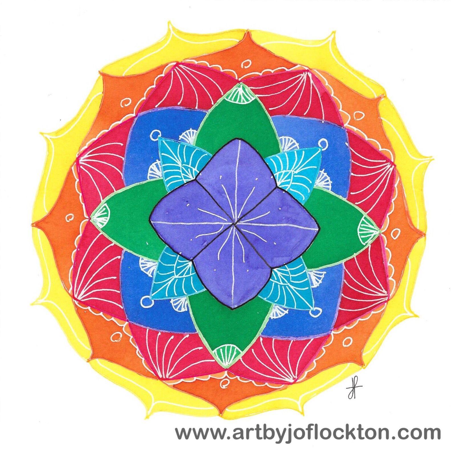 Rainbow Lotus Zendala, original art, $35.20