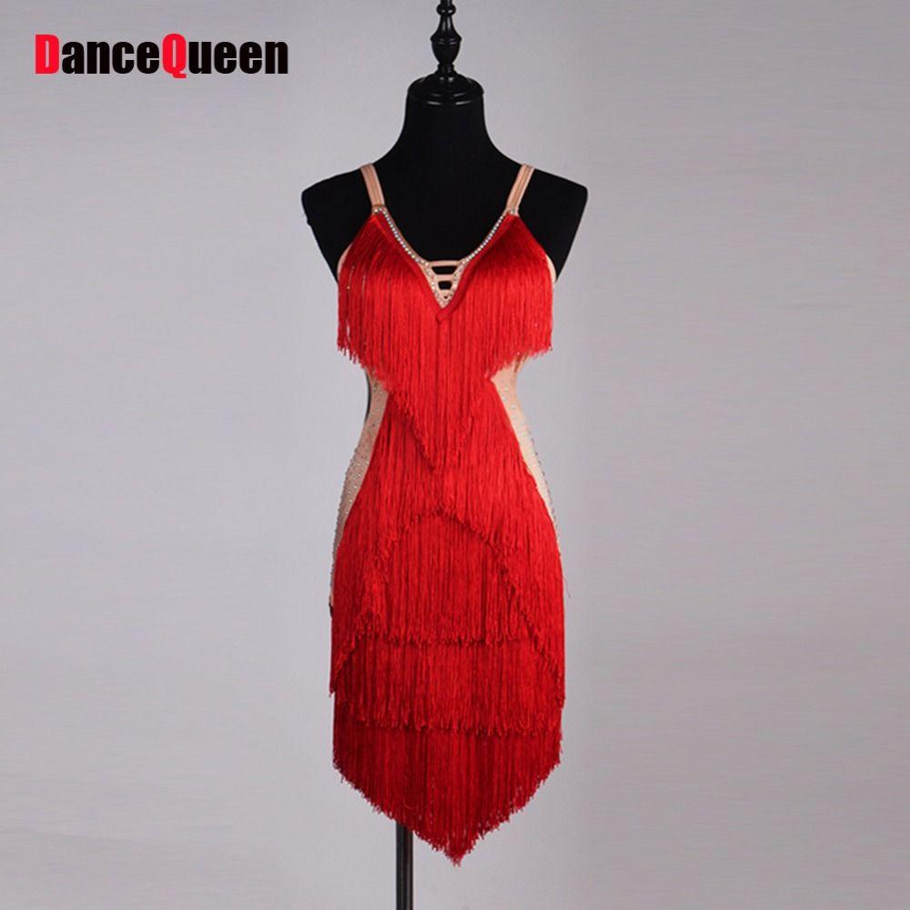 >> Click to Buy << Good Quality Latin Dance Dresses For Ladies Custom-made Diamonds Tassel Red Skirts Wears Women Stage Club Ballroom Dress Fashion #Affiliate
