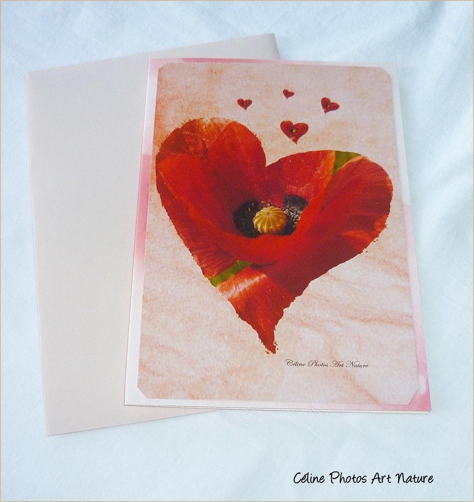 """Carte double 10,5x15cm réalisée à partir de photos de coquelicots """"Amour de coquelicot """" : Cartes par celinephotosartnature"""