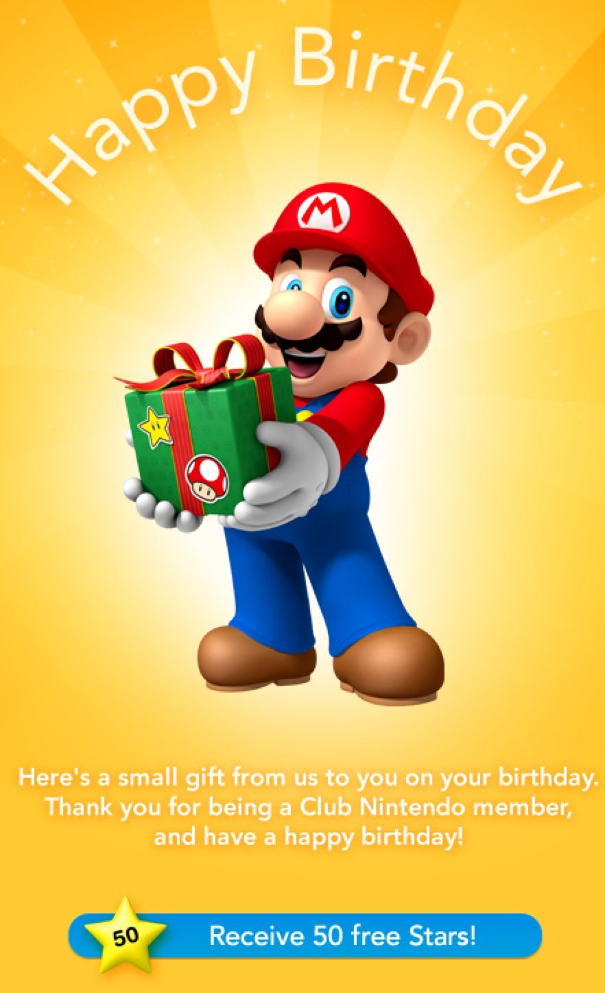 Nintendo Birthday Email Mario Gifts Junk Mail