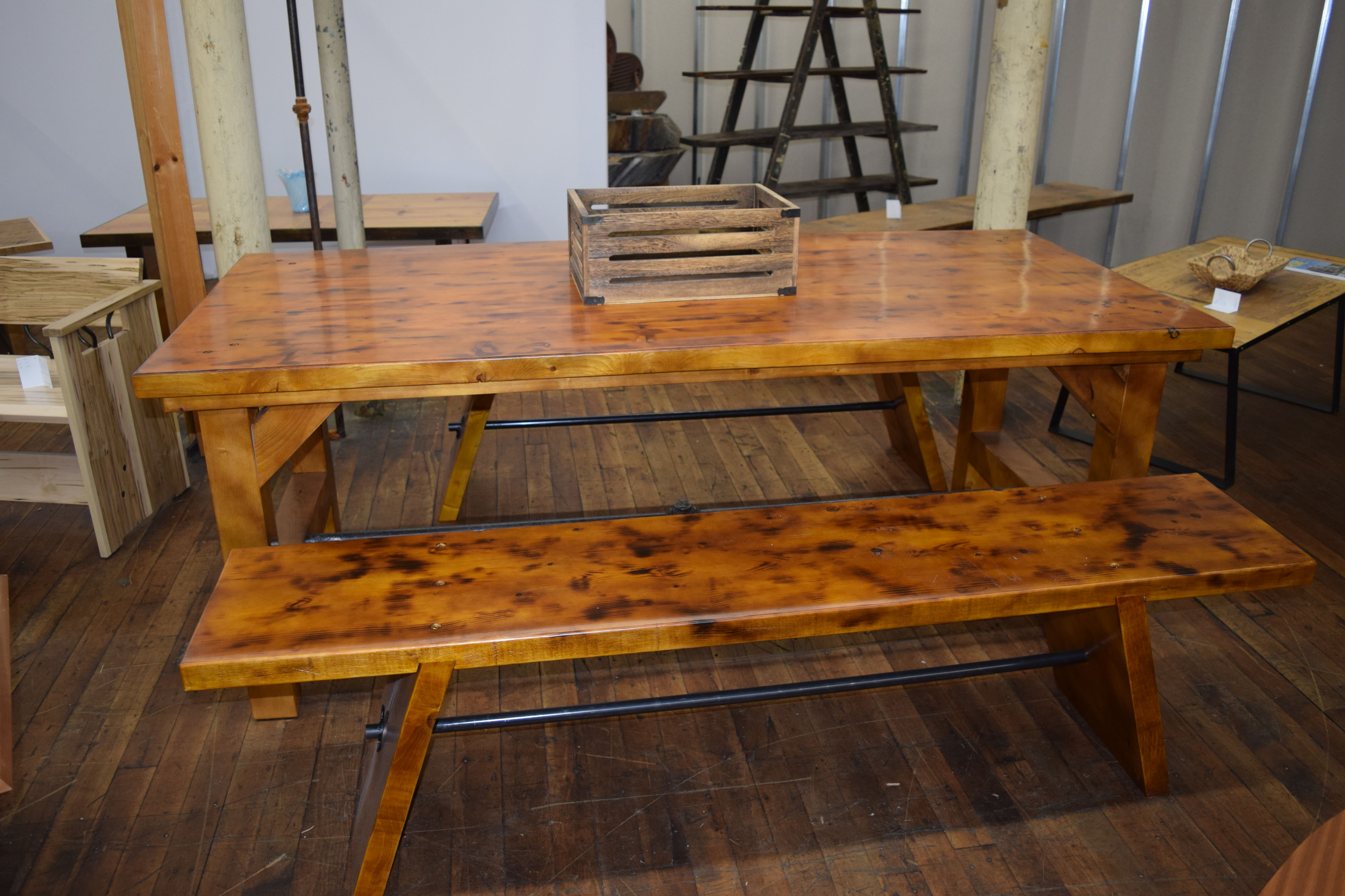 Farm Bench Scorched Wood W Orange Shellac Varnish Dining Room Table