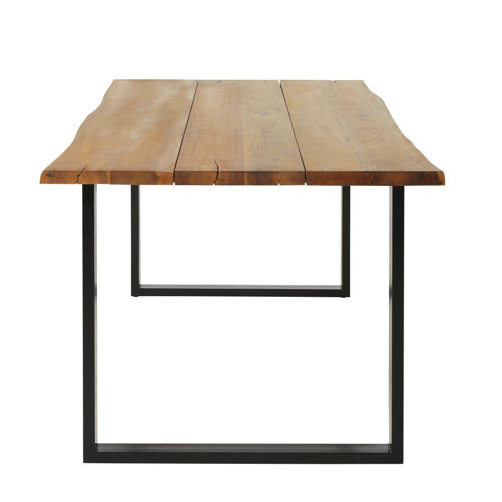 Gartentisch Aus Massivem Akazienholz Und Schwarzem Metall Fur 6 8