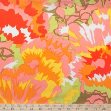 """Orange Parfet Floral Spandex Fabric 4 Way Stretch Smooth Soft Coral Green Yellow 58"""" Width - Sold by the Yard"""