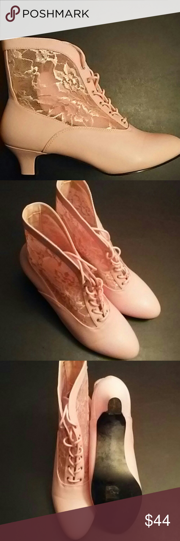 "Victorian Lace Booties Stunning Pink victorian style lace up booties with 2"" heel. Very comfy and true to size. Wore a couple of times In great condition, no stains or tears. Funtasma Shoes Ankle Boots & Booties"