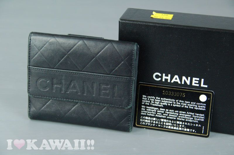 Authentic CHANEL Black Lambskin Leather Bifold Coin Purse Wallet #CHANEL #Wallet
