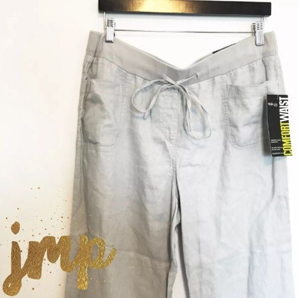 """Style&co. Linen Pants Size: 1X WP (Plus & Petite/short)  Retail Value: $58  Condition: New with tags, shelf pull (never worn)  Material: Shell: 100% linen Knit Rib: 96% cotton 4% spandex  Measurements: Waist: 36"""" Hips: 52"""" Rise: 11"""" Inseam: 29.25""""  Description: Drawstring elastic waistband, 2 front pockets, 2 back pockets Style & Co Pants Wide Leg"""