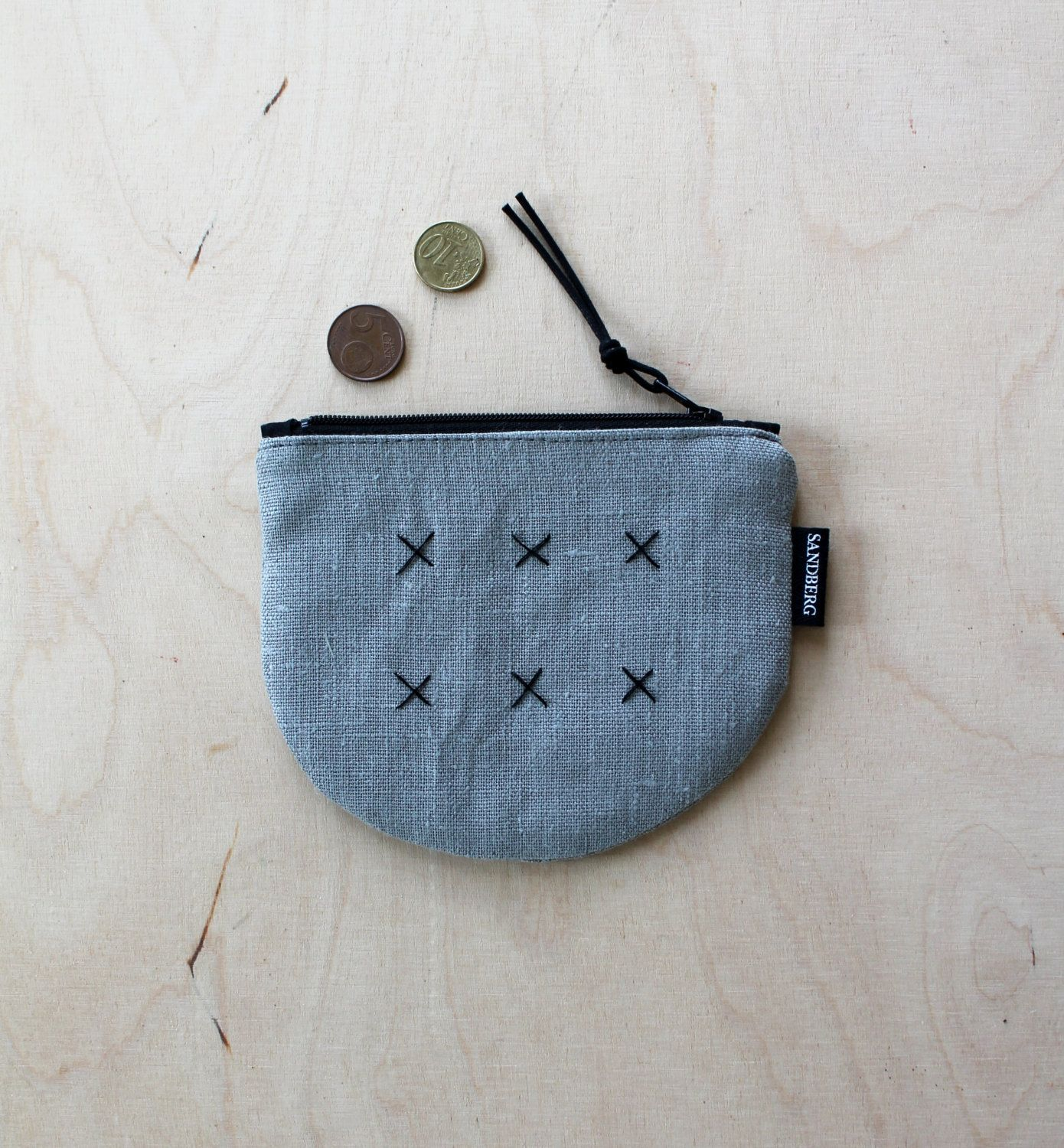 Grey Linen Zipper Coin Pouch, Linen purse, Small Linen Pouch, Embroidered Linen Pouch, Handmade Sustainable Accessories, Eco Friendly Bags by DesignSandberg on Etsy