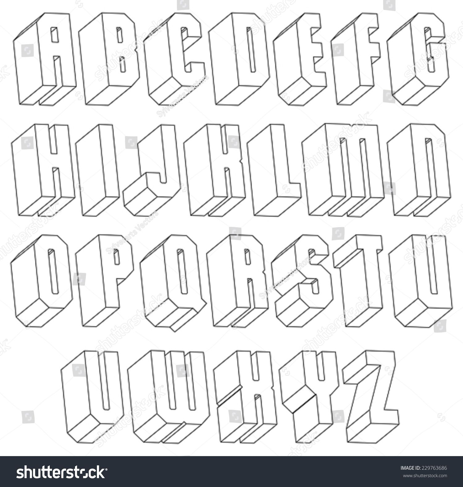 Geometric black and white 3d font made with thin lines