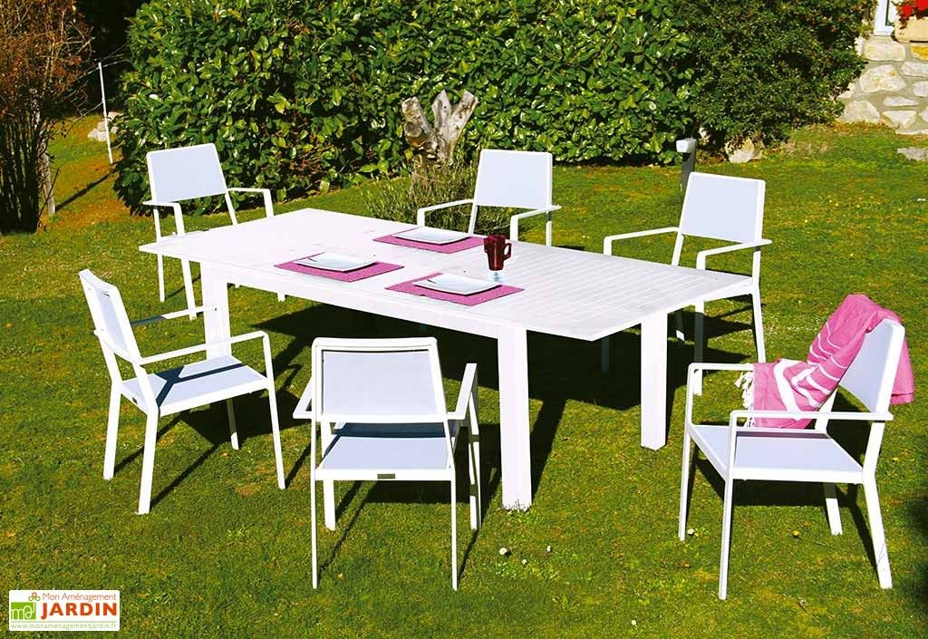 Salon De Jardin Extensible Aluminium Blanc 6 Places Monet