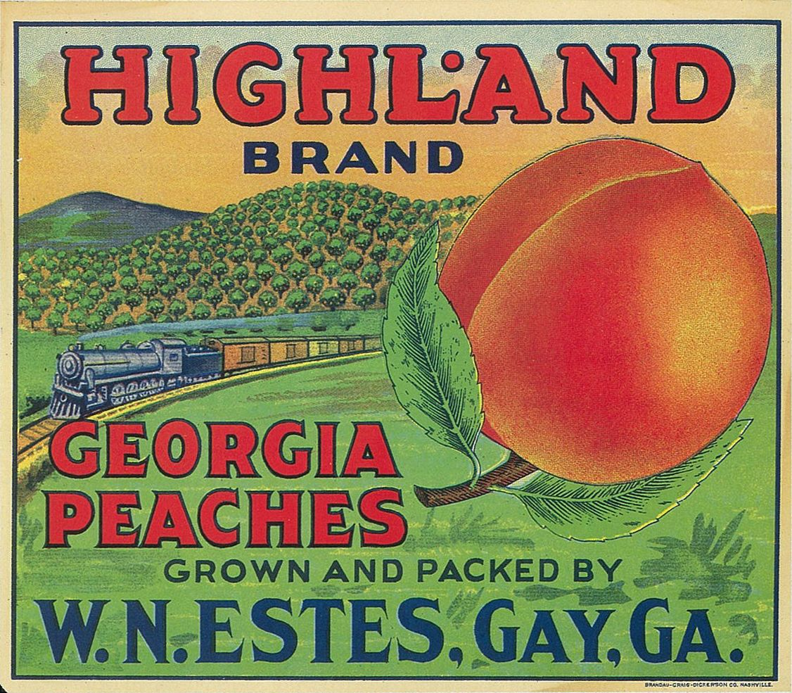 Antique Peach Crate End Label For Highland Brand Peaches