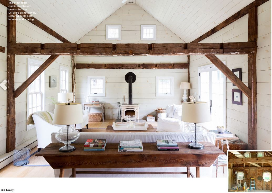 lake house exposed beam living room cathedral ceiling