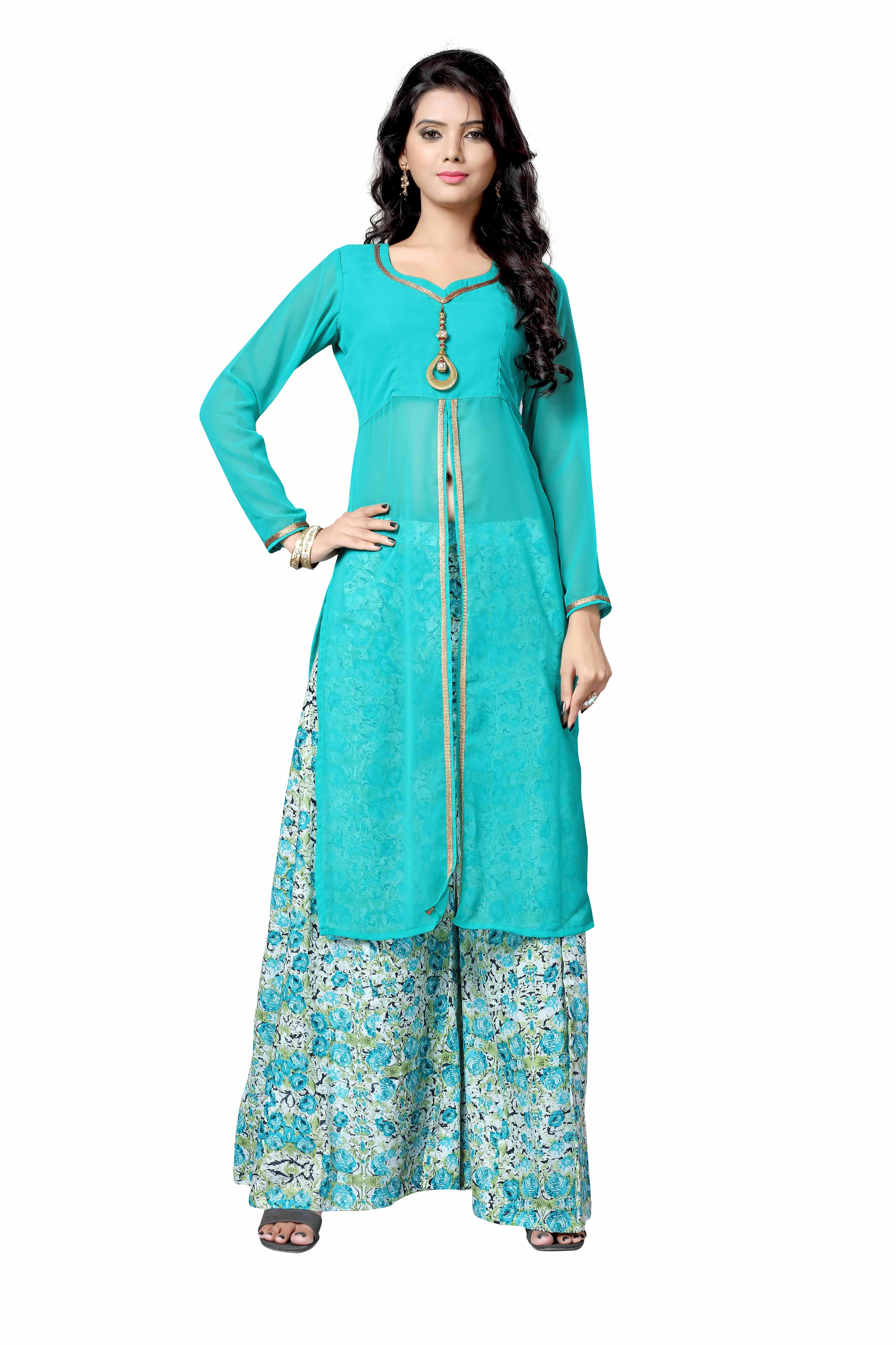 Stylish Turquoish Colour Palazzo Salwar Suit | Unique salwar suit ...