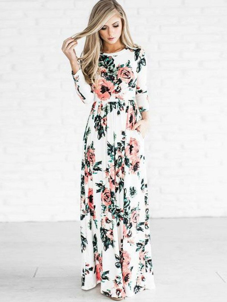 Scoop long sleeve floral print womenus maxi dress pinterest maxi
