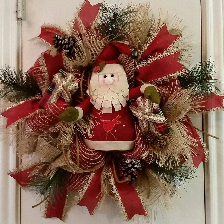 Christmas burlap deco mesh wreath santa wreath natural for Pinterest decoracion navidad