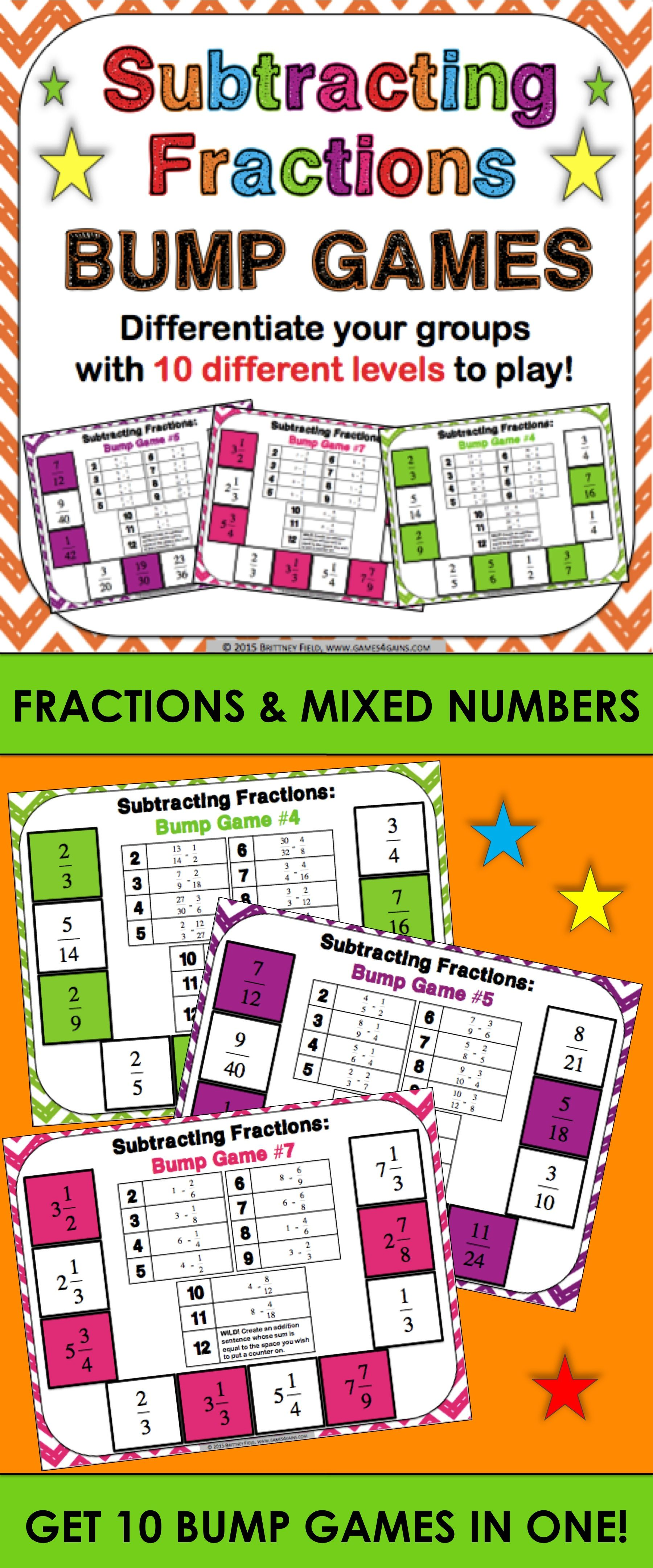 Fraction Subtraction Games Subtracting Fractions Amp Subtracting Mixed Numbers