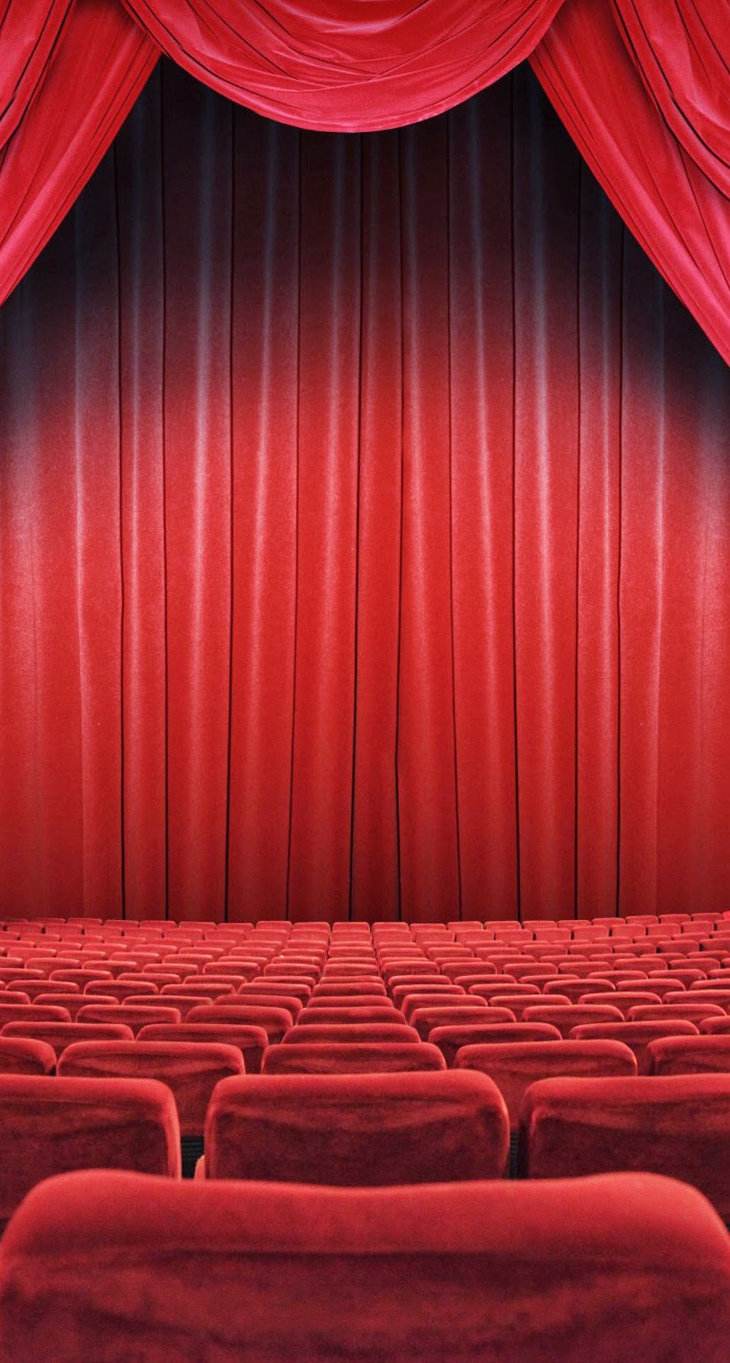 Theatre seats red curtain iphone 6 plus hd for Wallpaper hd home movie